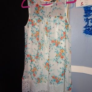 Sleeveless Floral Lily Rose Dress with Lace Bottom